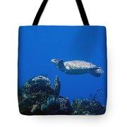 Turtle Flying Underwater Tote Bag