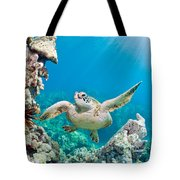 Turtle In Tropical Ocean Tote Bag