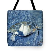 Turtle On Black Sand Beach Tote Bag