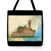 Turtle Rock Lighthouse Pa Chart Map Art  Tote Bag