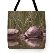 Turtle Struggling To Rest On A Log With Its Buddy Tote Bag