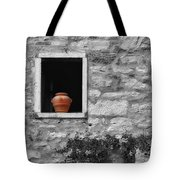 Tuscan Window And Pot Bw And Color Tote Bag