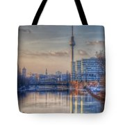 Tv Tower Sunset Tote Bag