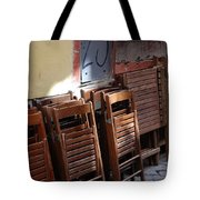 Twenty-five Folded Chairs Tote Bag