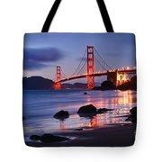 Twilight - Beautiful Sunset View Of The Golden Gate Bridge From Marshalls Beach. Tote Bag