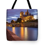 Twilight Over Notre Dame Tote Bag