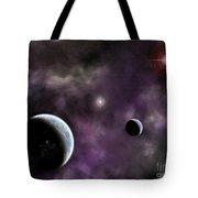 Twin Planets With Nebula Tote Bag