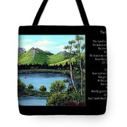 Twin Ponds And 23 Psalm On Black Horizontal Tote Bag