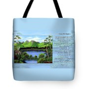 Twin Ponds And 23 Psalm On Blue Horizontal Tote Bag