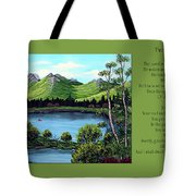 Twin Ponds And 23 Psalm On Green Horizontal Tote Bag