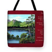 Twin Ponds And 23 Psalm On Red Horizontal  Tote Bag