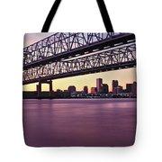 Twins Bridge Over A River, Crescent Tote Bag