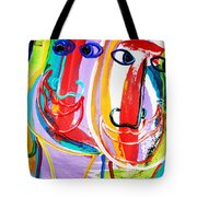 Two Abstract Faces Tote Bag