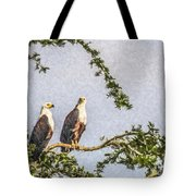 Two African Fish Eagles Haliaeetus Vocifer  Tote Bag