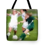 Two Against One Expressionist Soccer Battle  Tote Bag