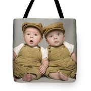 Two Babies In Matching Hat And Overalls Tote Bag