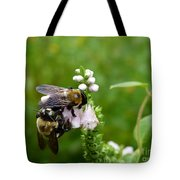 Two Bees On Flower Tote Bag