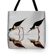 Two Black Neck Stilts Eating Tote Bag