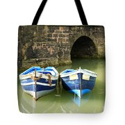 Two Blue Fishing Boats Tote Bag