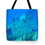 Two Blue Tang On A Ship Wreak Tote Bag