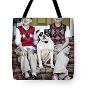 Two Boys And Their Dog Tote Bag