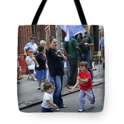 Two Boys Having Some Fun At The 200th Anniversary Of St. Patrick Old Cathedral Tote Bag