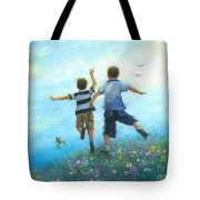 Two Brothers Leaping Tote Bag