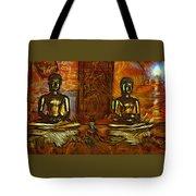 Two Buddhas Tote Bag