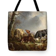 Two Bulls Defend Against A Cow Attacked By Wolves Tote Bag by Jacques Raymond Brascassat