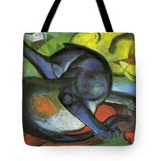 Two Cats Blue And Yellow 1912 Tote Bag
