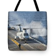 Two Ch-46e Sea Knight Helicopters Tote Bag