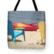 Two Chairs And A Boat Tote Bag