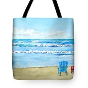 Two Chairs At The Beach Tote Bag
