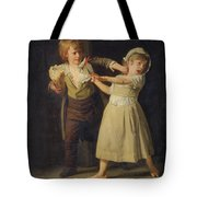 Two Children Fighting Over A Piece Of Bread Tote Bag