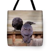 Two Common Ravens Corvus Corax Interacting Tote Bag