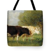 Two Cows In A Meadow Tote Bag