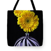 Two Daises In Striped Vase Tote Bag