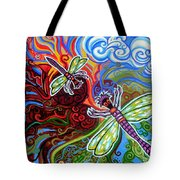Two Dragonflies Tote Bag