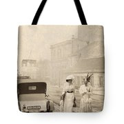 Two Edwardian Ladies Crossing A Cobbled Street Tote Bag