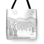 Two Farmers Stand By A Tractor Tote Bag