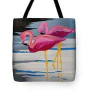 Two Flamingo's In Acrylic Tote Bag