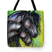 Two Fresian Horses Tote Bag
