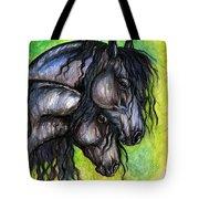 Two Fresian Horses Tote Bag