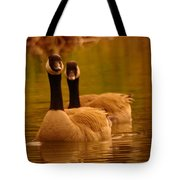 Two Geese In A Line Tote Bag
