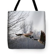 Two Geese In Flight Tote Bag