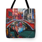 Two Gondolas In Venice Tote Bag