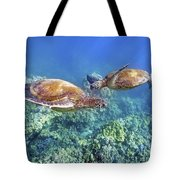 Two Green Turtles Tote Bag