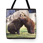 Two Grizzly Bears Ursus Arctos Play Fighting Tote Bag