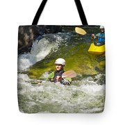 Two Kayakers On A Fast River Tote Bag