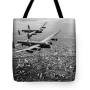 Two Lancasters Over London Black And White Version Tote Bag